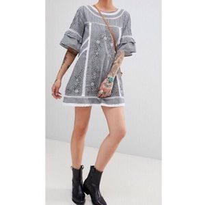 Free People | XS | Gingham Embroidered Mini Dress